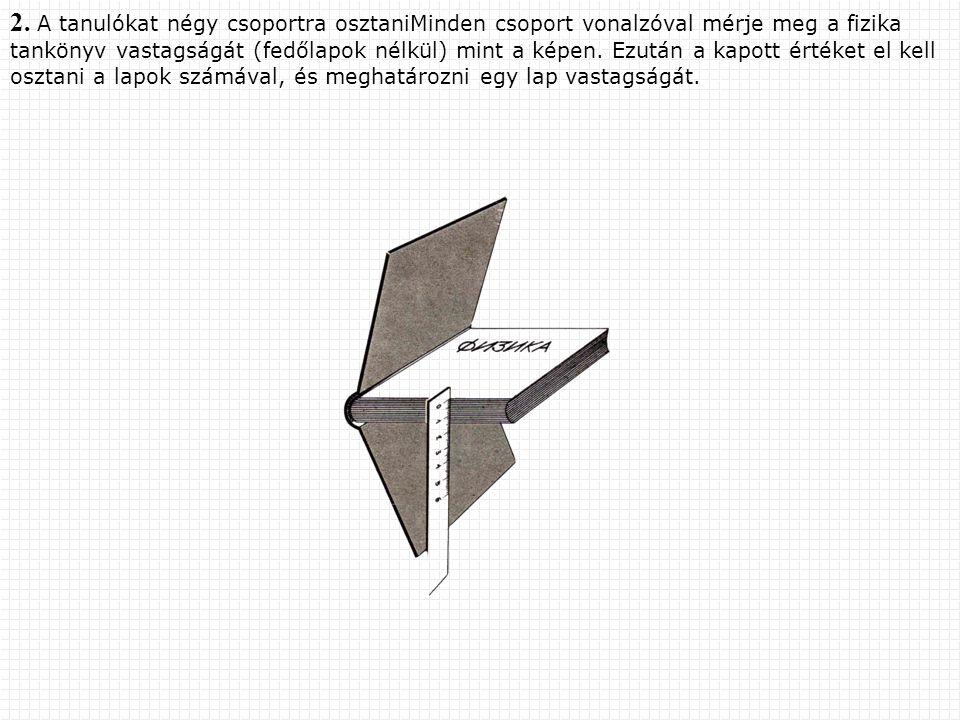 2. A tanulókat négy csoportra osztaniMinden csoport vonalzóval mérje meg a fizika tankönyv vastagságát (fedőlapok nélkül) mint a képen. Ezután a kapot