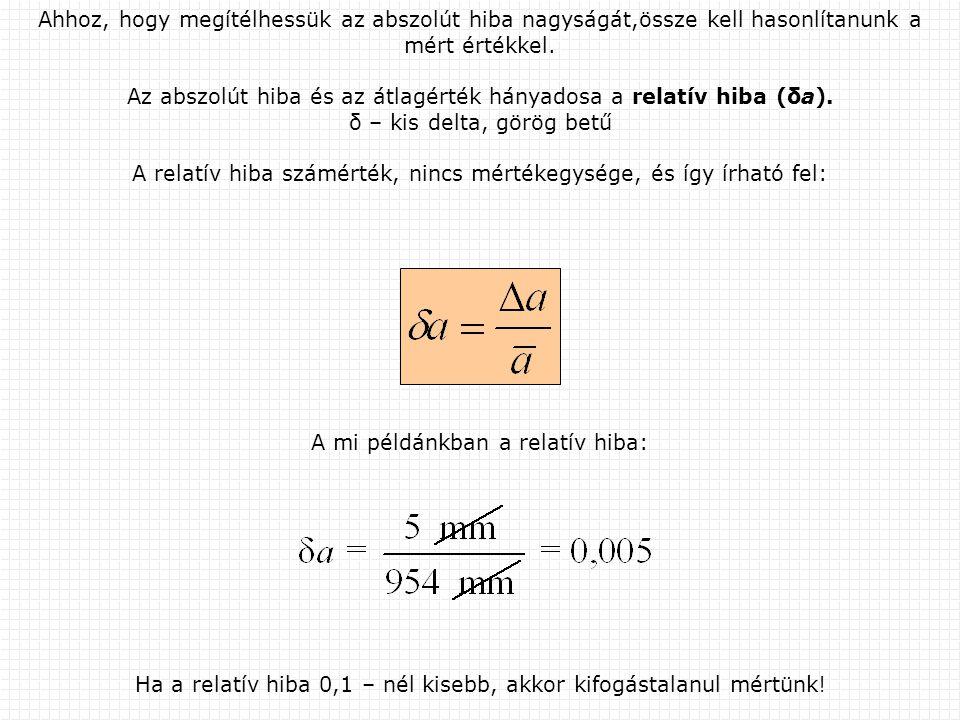 Ha a relatív hiba 0,1 – nél kisebb, akkor kifogástalanul mértünk! Ahhoz, hogy megítélhessük az abszolút hiba nagyságát,össze kell hasonlítanunk a mért