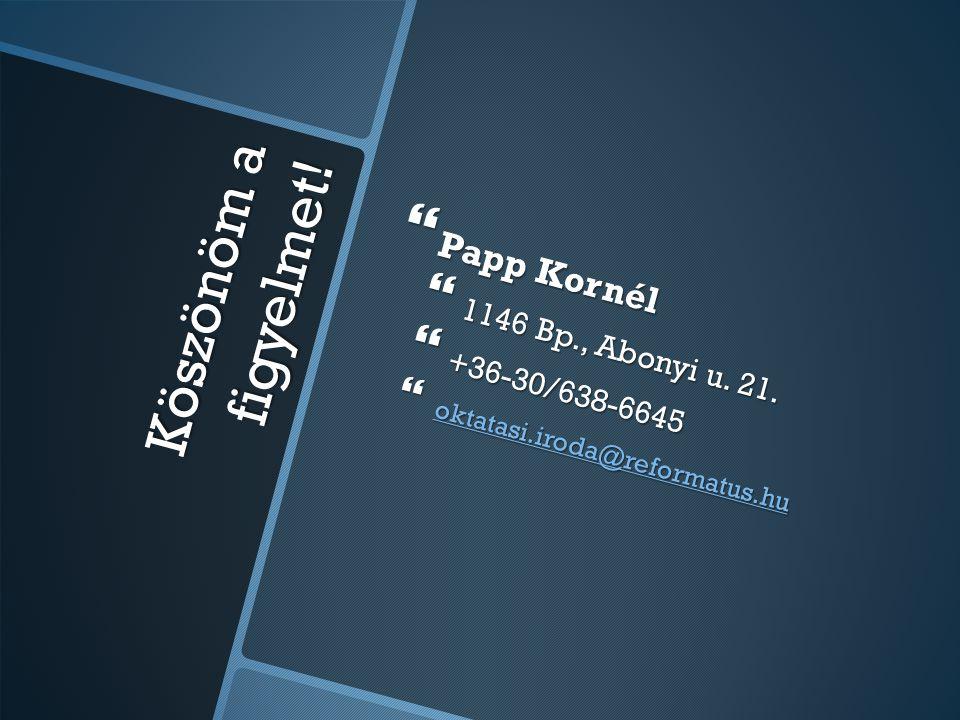 Köszönöm a figyelmet!  Papp Kornél  1146 Bp., Abonyi u. 21.  +36-30/638-6645  oktatasi.iroda@reformatus.hu oktatasi.iroda@reformatus.hu