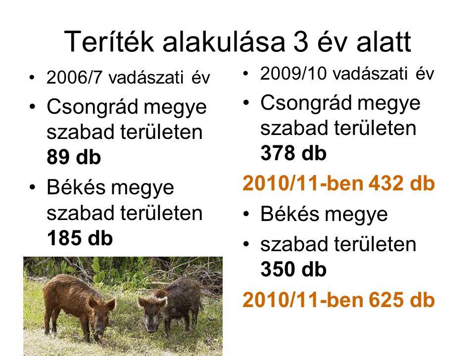Teríték alakulása 3 év alatt •2006/7 vadászati év •Csongrád megye szabad területen 89 db •Békés megye szabad területen 185 db •2009/10 vadászati év •C