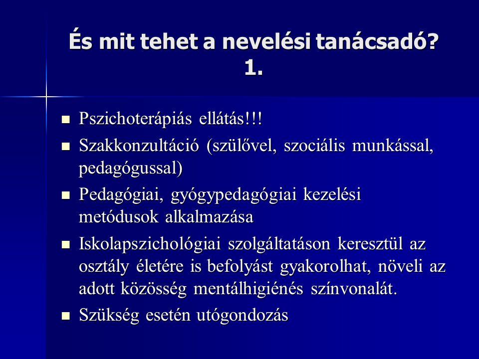 És mit tehet a nevelési tanácsadó? 1.  Pszichoterápiás ellátás!!!  Szakkonzultáció (szülővel, szociális munkással, pedagógussal)  Pedagógiai, gyógy
