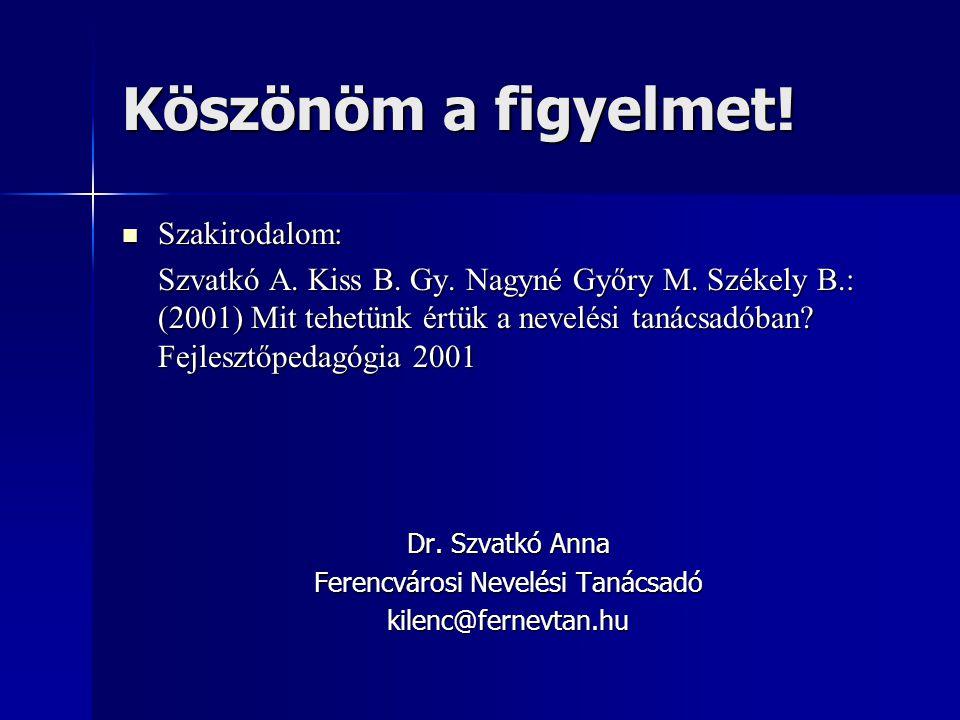 Köszönöm a figyelmet!  Szakirodalom: Szvatkó A. Kiss B. Gy. Nagyné Győry M. Székely B.: (2001) Mit tehetünk értük a nevelési tanácsadóban? Fejlesztőp