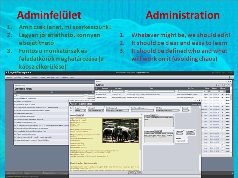 Adminfelület Administration 1.Amit csak lehet, mi szerkesszünk! 2.Legyen jól átlátható, könnyen elsajátítható 3.Fontos a munkatársak és feladatkörök m