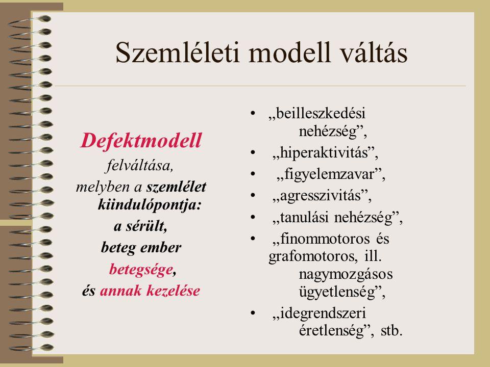 """Szemléleti modell váltás •""""beilleszkedési nehézség , • """"hiperaktivitás , • """"figyelemzavar , • """"agresszivitás , • """"tanulási nehézség , • """"finommotoros és grafomotoros, ill."""