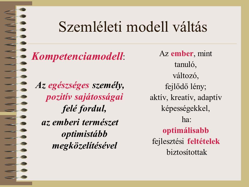 Szemléleti modell váltás Kompetenciamodell : Az egészséges személy, pozitív sajátosságai felé fordul, az emberi természet optimistább megközelítésével Az ember, mint tanuló, változó, fejlődő lény; aktív, kreatív, adaptív képességekkel, ha: optimálisabb fejlesztési feltételek biztosítottak