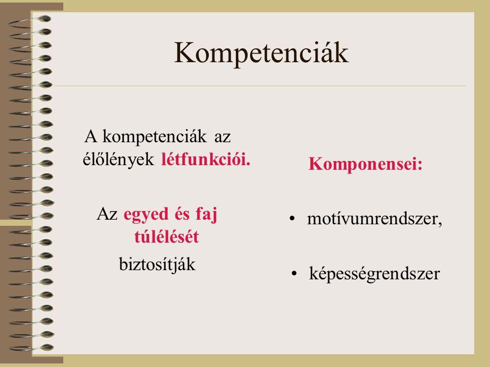 Kompetenciák A kompetenciák az élőlények létfunkciói.