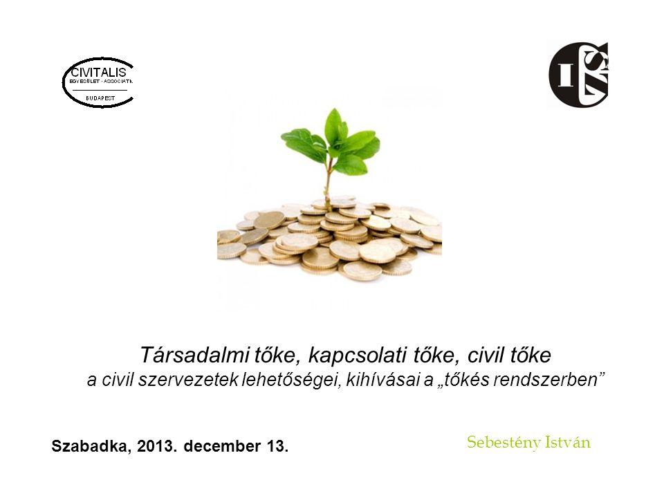 """Társadalmi tőke, kapcsolati tőke, civil tőke a civil szervezetek lehetőségei, kihívásai a """"tőkés rendszerben Sebestény István Szabadka, 2013."""