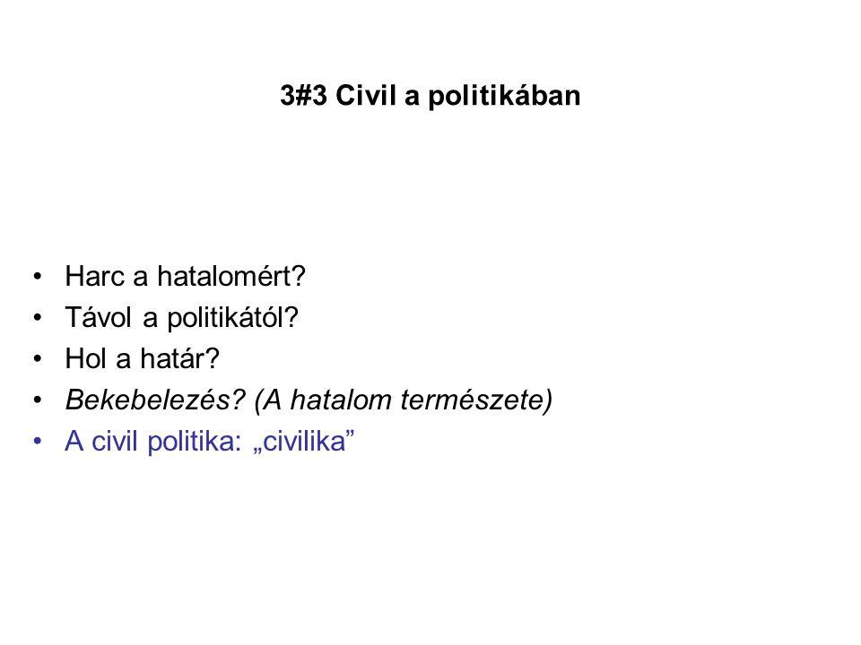 """•Harc a hatalomért? •Távol a politikától? •Hol a határ? •Bekebelezés? (A hatalom természete) •A civil politika: """"civilika"""""""