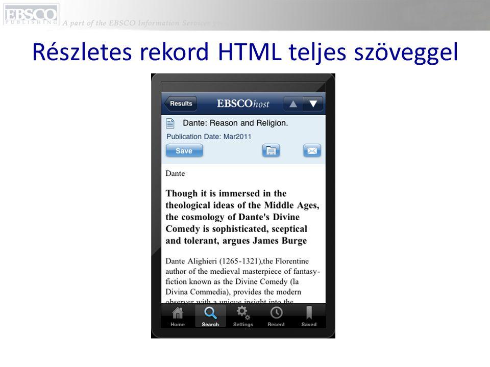 Részletes rekord HTML teljes szöveggel
