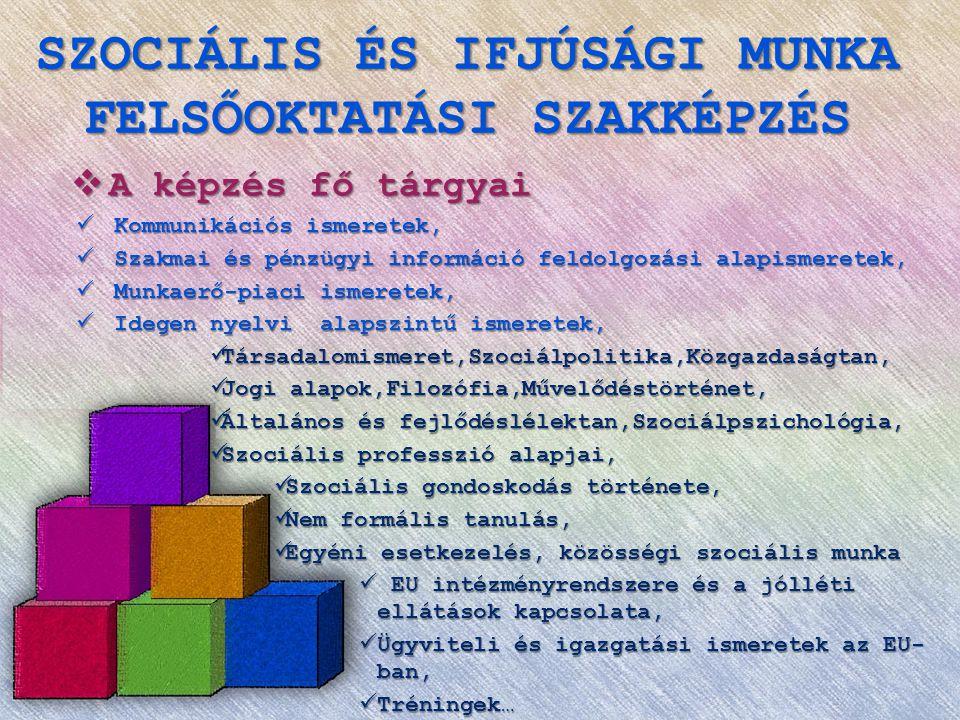 SZOCIÁLIS ÉS IFJÚSÁGI MUNKA FELSŐOKTATÁSI SZAKKÉPZÉS  A képzés fő tárgyai  Kommunikációs ismeretek,  Szakmai és pénzügyi információ feldolgozási alapismeretek,  Munkaerő-piaci ismeretek,  Idegen nyelvi alapszintű ismeretek,  Társadalomismeret,Szociálpolitika,Közgazdaságtan,  Jogi alapok,Filozófia,Művelődéstörténet,  Általános és fejlődéslélektan,Szociálpszichológia,  Szociális professzió alapjai,  Szociális gondoskodás története,  Nem formális tanulás,  Egyéni esetkezelés, közösségi szociális munka  EU intézményrendszere és a jólléti ellátások kapcsolata,  Ügyviteli és igazgatási ismeretek az EU- ban,  Tréningek…