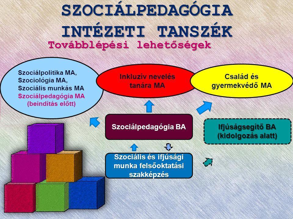 SZOCIÁLPEDAGÓGIA INTÉZETI TANSZÉK Továbblépési lehetőségek Szociálpedagógia BA Szociális és ifjúsági munka felsőoktatási szakképzés Szociálpolitika MA, Szociológia MA, Szociális munkás MA Szociálpedagógia MA (beindítás előtt) Ifjúságsegítő BA (kidolgozás alatt) Inkluzív nevelés tanára MA Család és gyermekvédő MA
