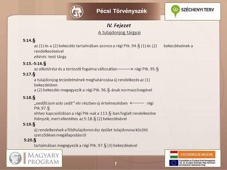 Pécsi Törvényszék 8 IV.CÍM A TULAJDONJOG TARTALMA ÉS VÉDELME V.