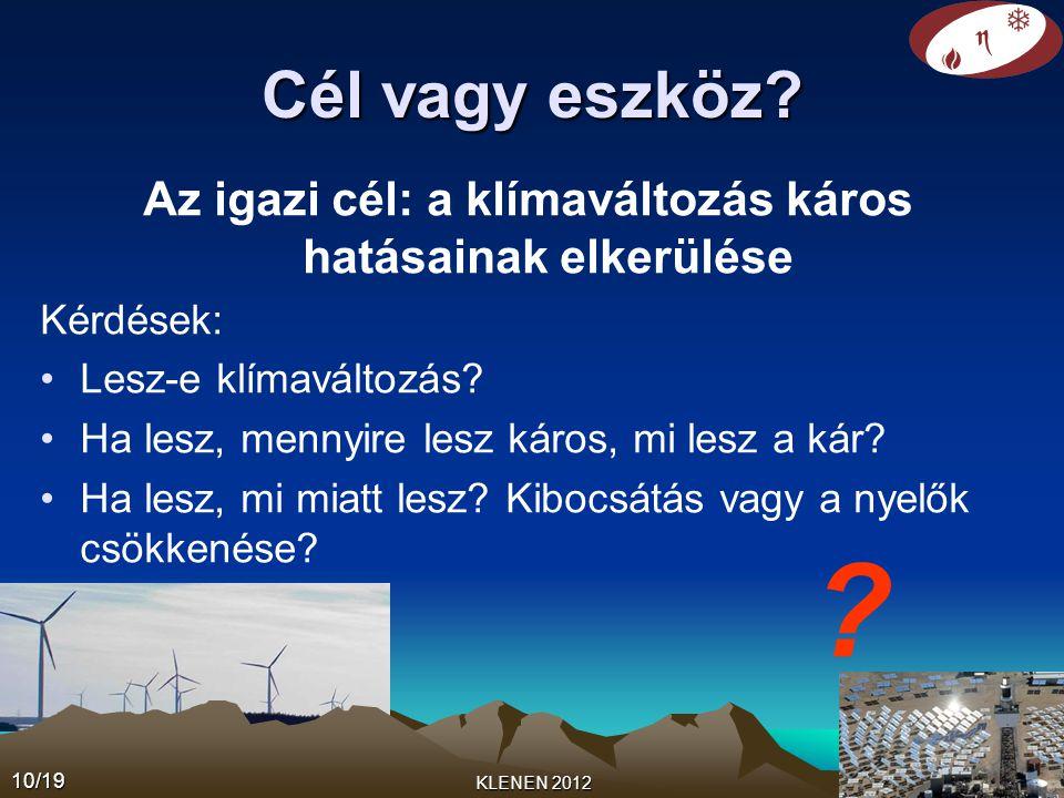 10/19 KLENEN 2012 Cél vagy eszköz? Az igazi cél: a klímaváltozás káros hatásainak elkerülése Kérdések: •Lesz-e klímaváltozás? •Ha lesz, mennyire lesz