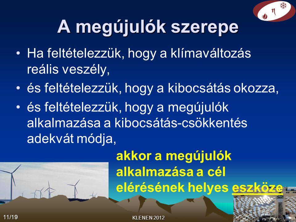 11/19 KLENEN 2012 A megújulók szerepe •Ha feltételezzük, hogy a klímaváltozás reális veszély, •és feltételezzük, hogy a kibocsátás okozza, •és feltételezzük, hogy a megújulók alkalmazása a kibocsátás-csökkentés adekvát módja, akkor a megújulók alkalmazása a cél elérésének helyes eszköze