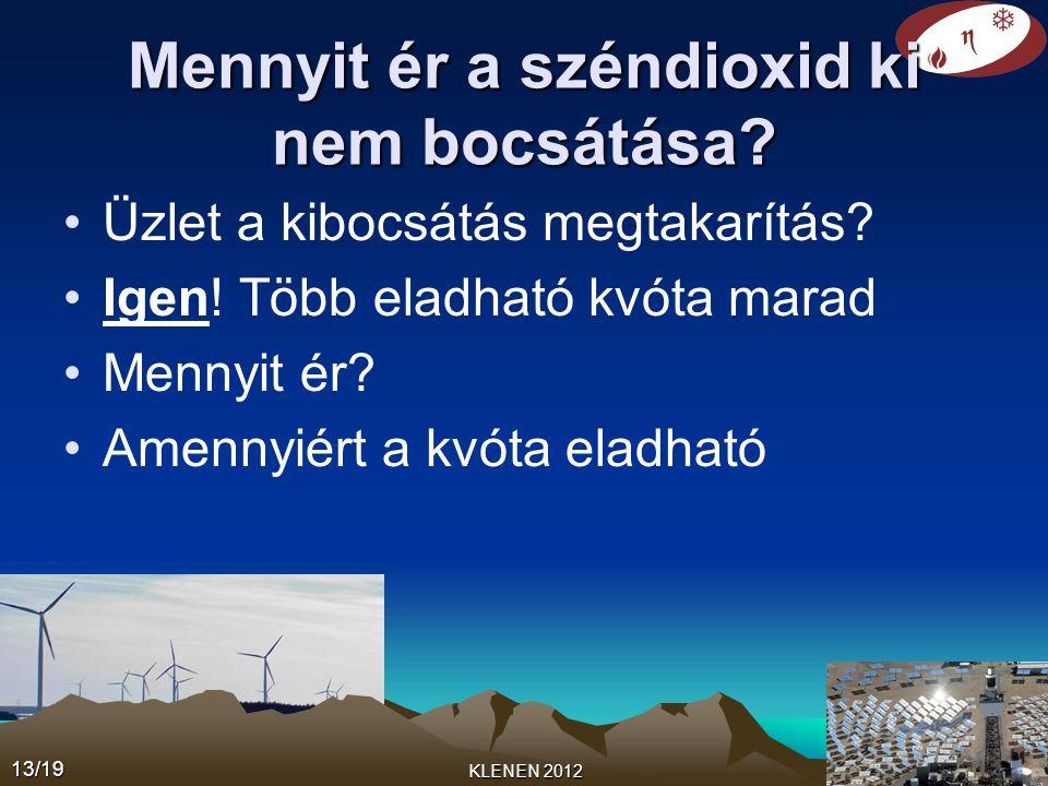 •Üzlet a kibocsátás megtakarítás? •Igen! Több eladható kvóta marad •Mennyit ér? •Amennyiért a kvóta eladható 13/19 KLENEN 2012 Mennyit ér a széndioxid