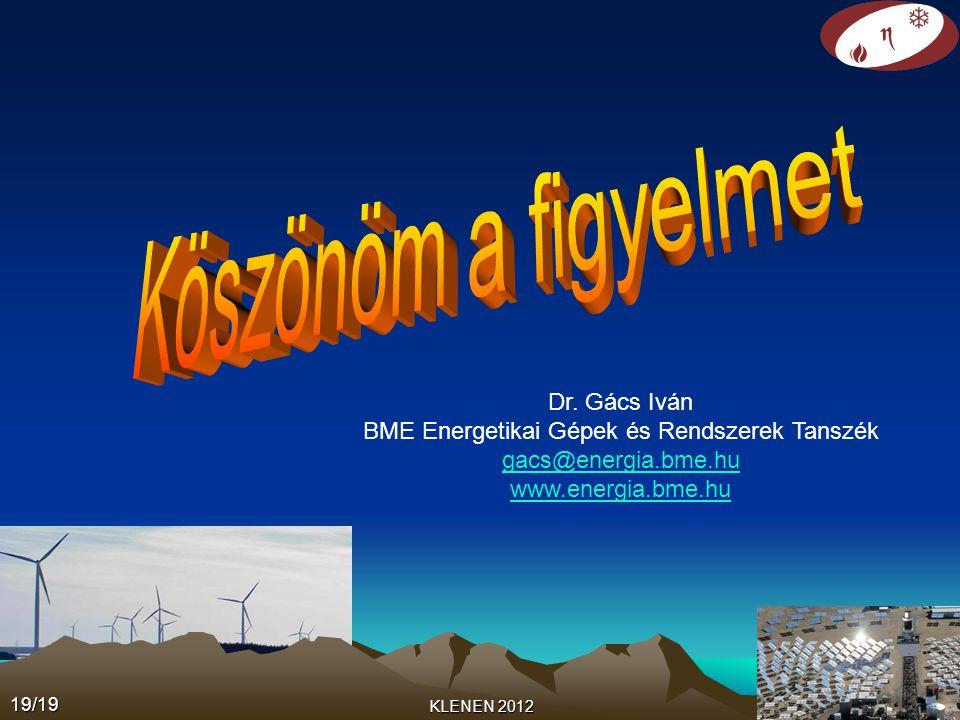 KLENEN 2012 Dr. Gács Iván BME Energetikai Gépek és Rendszerek Tanszék gacs@energia.bme.hu www.energia.bme.hu19/19