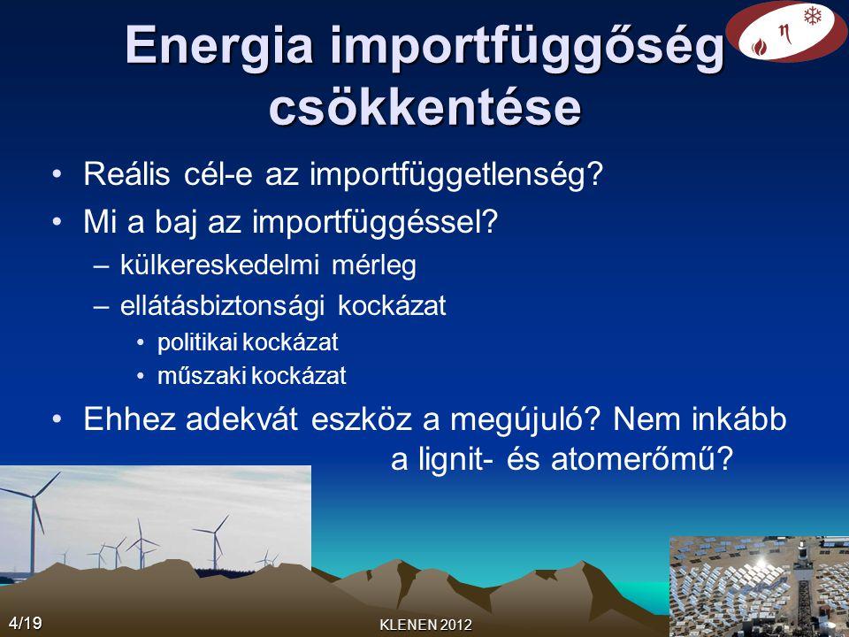 Energia importfüggőség csökkentése •Reális cél-e az importfüggetlenség? •Mi a baj az importfüggéssel? –külkereskedelmi mérleg –ellátásbiztonsági kocká