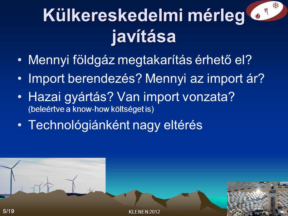 Külkereskedelmi mérleg javítása •Mennyi földgáz megtakarítás érhető el? •Import berendezés? Mennyi az import ár? •Hazai gyártás? Van import vonzata? (