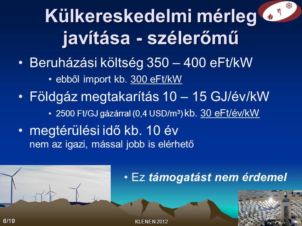 Külkereskedelmi mérleg javítása - szélerőmű •Beruházási költség 350 – 400 eFt/kW •ebből import kb. 300 eFt/kW •Földgáz megtakarítás 10 – 15 GJ/év/kW •