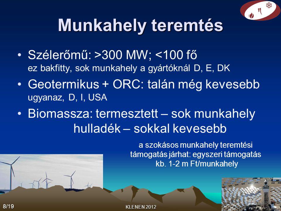 Munkahely teremtés •Szélerőmű: >300 MW; <100 fő ez bakfitty, sok munkahely a gyártóknál D, E, DK •Geotermikus + ORC: talán még kevesebb ugyanaz, D, I, USA •Biomassza: termesztett – sok munkahely hulladék – sokkal kevesebb 8/19 KLENEN 2012 a szokásos munkahely teremtési támogatás járhat: egyszeri támogatás kb.