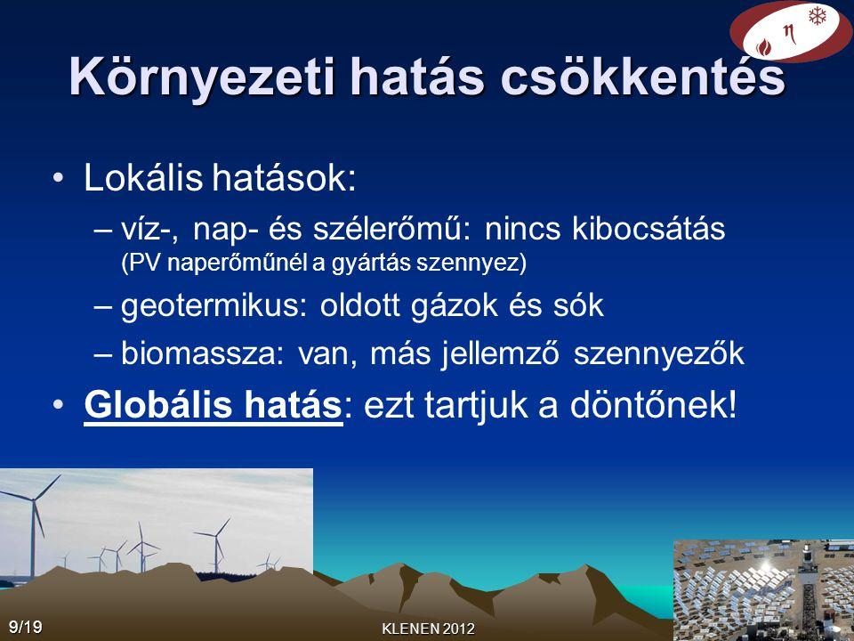 Környezeti hatás csökkentés •Lokális hatások: –víz-, nap- és szélerőmű: nincs kibocsátás (PV naperőműnél a gyártás szennyez) –geotermikus: oldott gázo