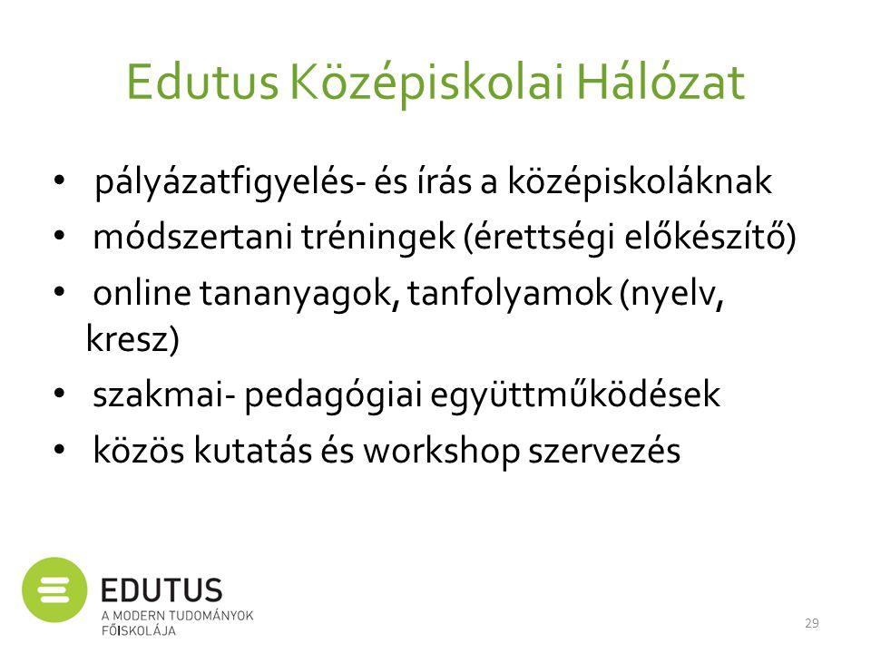 Edutus Középiskolai Hálózat • pályázatfigyelés- és írás a középiskoláknak • módszertani tréningek (érettségi előkészítő) • online tananyagok, tanfolya