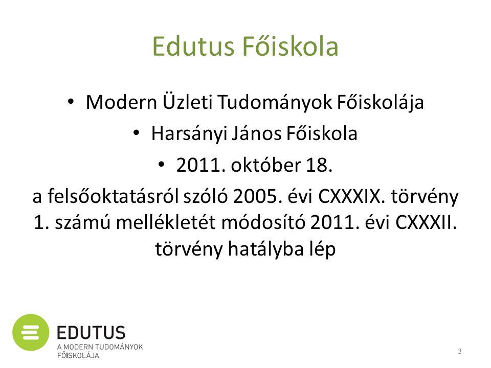 Edutus Főiskola • Modern Üzleti Tudományok Főiskolája • Harsányi János Főiskola • 2011. október 18. a felsőoktatásról szóló 2005. évi CXXXIX. törvény