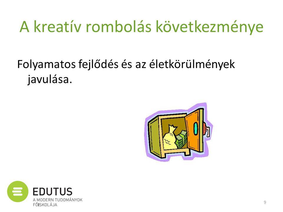A kreatív rombolás következménye Folyamatos fejlődés és az életkörülmények javulása. 9