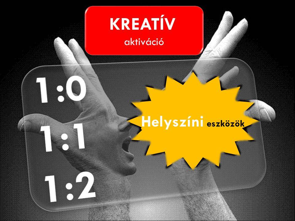 KREATÍV aktiváció KREATÍV aktiváció Helyszíni eszközök