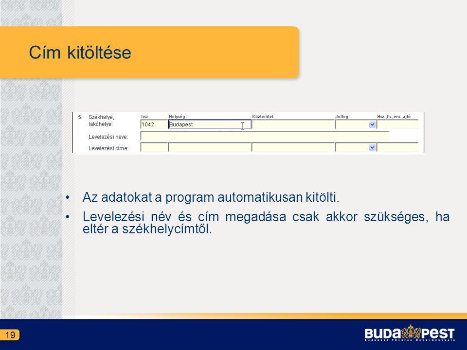 Cím kitöltése •Az adatokat a program automatikusan kitölti. •Levelezési név és cím megadása csak akkor szükséges, ha eltér a székhelycímtől. 19