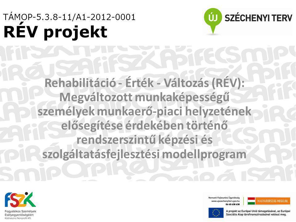 TÁMOP-5.3.8-11/A1-2012-0001 RÉV projekt Rehabilitáció - Érték - Változás (RÉV): Megváltozott munkaképességű személyek munkaerő-piaci helyzetének elősegítése érdekében történő rendszerszintű képzési és szolgáltatásfejlesztési modellprogram