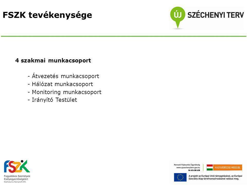 FSZK tevékenysége 4 szakmai munkacsoport - Átvezetés munkacsoport - Hálózat munkacsoport - Monitoring munkacsoport - Irányító Testület