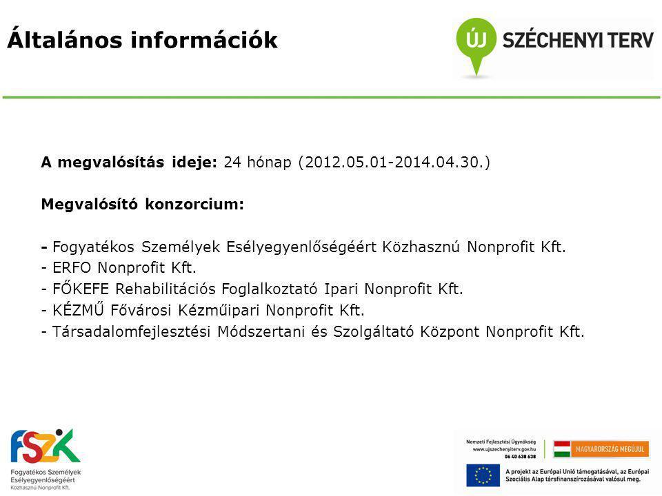 Általános információk A megvalósítás ideje: 24 hónap (2012.05.01-2014.04.30.) Megvalósító konzorcium: - Fogyatékos Személyek Esélyegyenlőségéért Közhasznú Nonprofit Kft.
