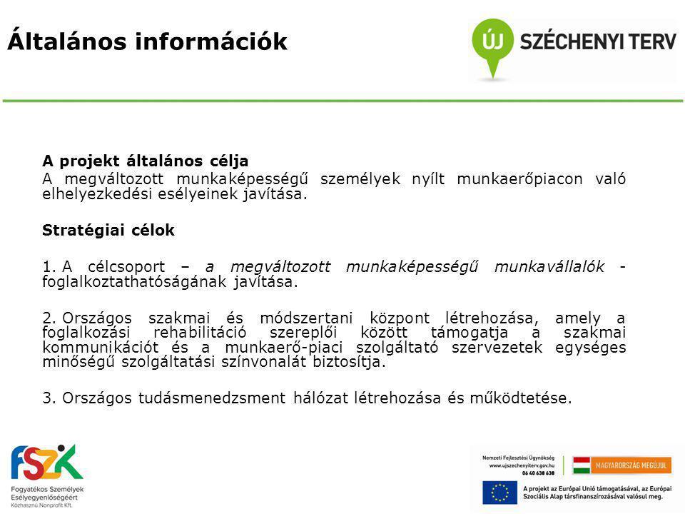 Általános információk A projekt általános célja A megváltozott munkaképességű személyek nyílt munkaerőpiacon való elhelyezkedési esélyeinek javítása.