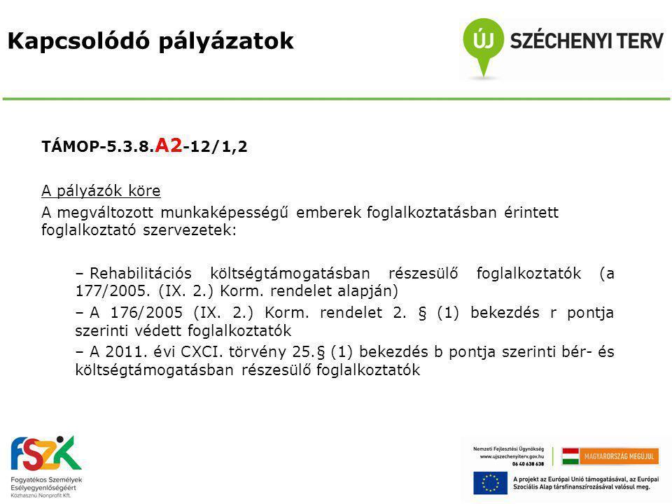Kapcsolódó pályázatok TÁMOP-5.3.8.