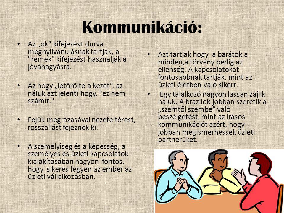 """Kommunikáció: • Az """"ok kifejezést durva megnyilvánulásnak tartják, a remek kifejezést használják a jóváhagyásra."""