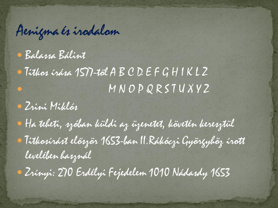  Balassa Bálint  Titkos írása 1577-től A B C D E F G H I K L Z  M N O P Q R S T U X Y Z  Zrini Miklós  Ha teheti, szóban küldi az üzenetet, követ