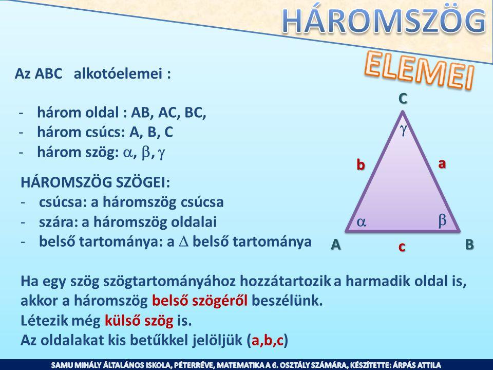 Az ABC alkotóelemei : -három oldal : AB, AC, BC, -három csúcs: A, B, C -három szög: , ,  AB C    HÁROMSZÖG SZÖGEI: -csúcsa: a háromszög csúcsa -
