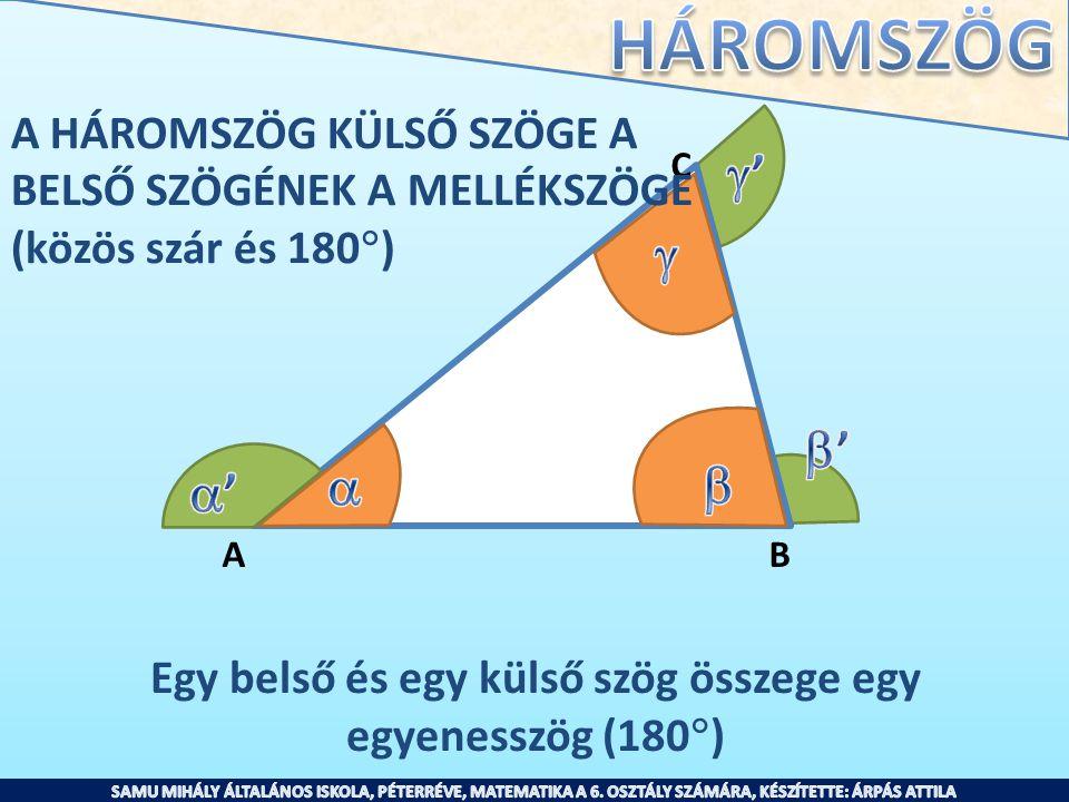 C AB A HÁROMSZÖG KÜLSŐ SZÖGE A BELSŐ SZÖGÉNEK A MELLÉKSZÖGE (közös szár és 180  ) Egy belső és egy külső szög összege egy egyenesszög (180  )