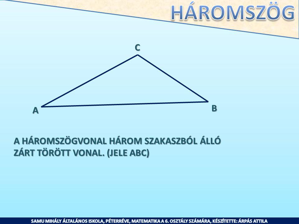 A HÁROMSZÖGVONAL HÁROM SZAKASZBÓL ÁLLÓ ZÁRT TÖRÖTT VONAL. (JELE ABC) A B C