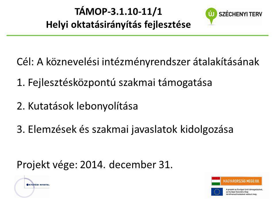TÁMOP-3.1.10-11/1 Helyi oktatásirányítás fejlesztése Cél: A köznevelési intézményrendszer átalakításának 1. Fejlesztésközpontú szakmai támogatása 2. K