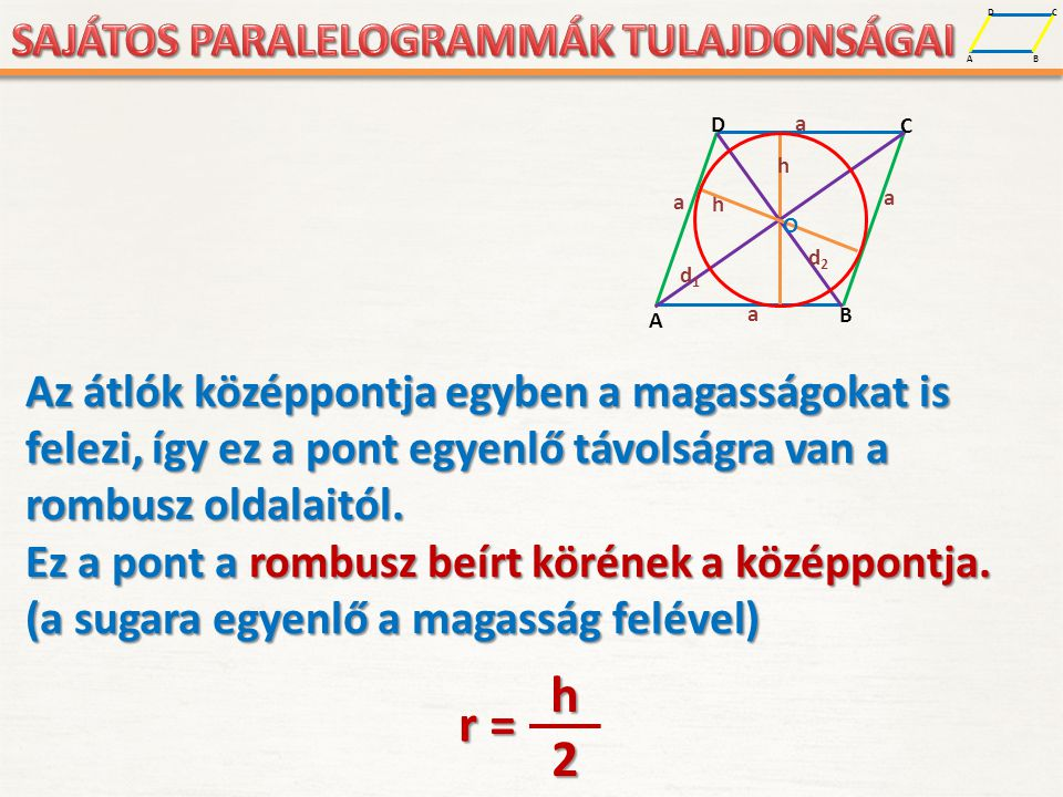 A D B C A D B C a a a a h O d1d1 d2d2 h Az átlók középpontja egyben a magasságokat is felezi, így ez a pont egyenlő távolságra van a rombusz oldalaitó