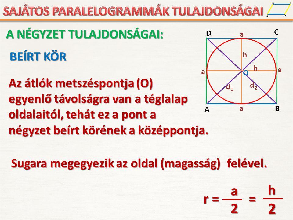 A D B C BEÍRT KÖR Az átlók metszéspontja (O) egyenlő távolságra van a téglalap oldalaitól, tehát ez a pont a négyzet beírt körének a középpontja. r =