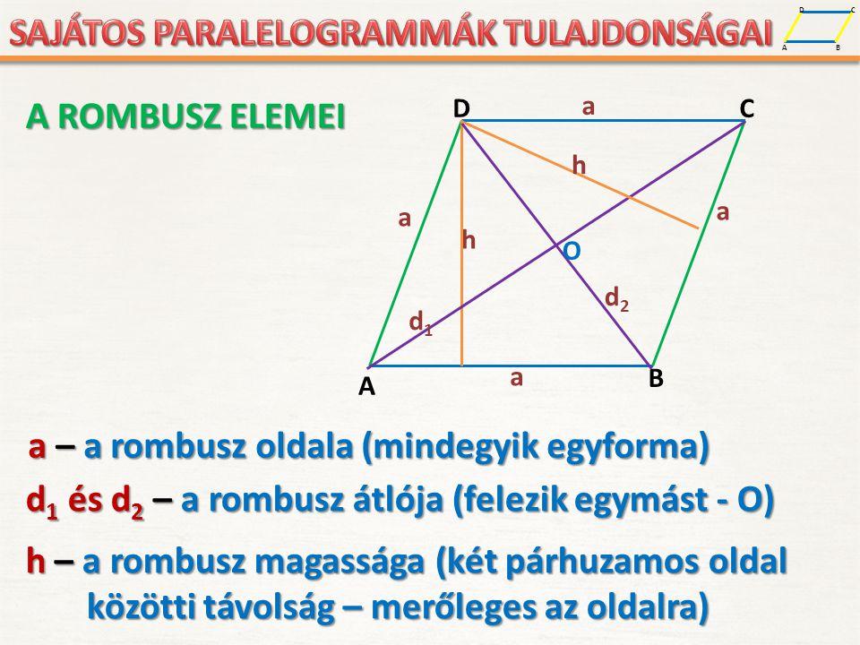 A D B C A D B C a a a a h O d1d1 d2d2 h a – a rombusz oldala (mindegyik egyforma) d 1 és d 2 – a rombusz átlója (felezik egymást - O) h – a rombusz ma