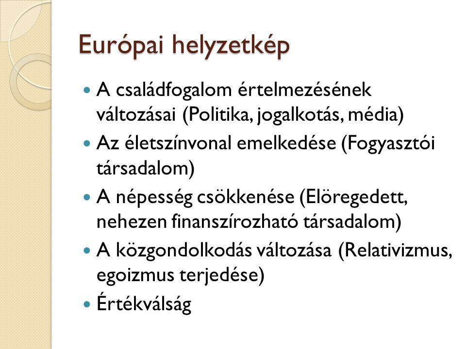 Európai helyzetkép  A családfogalom értelmezésének változásai (Politika, jogalkotás, média)  Az életszínvonal emelkedése (Fogyasztói társadalom)  A