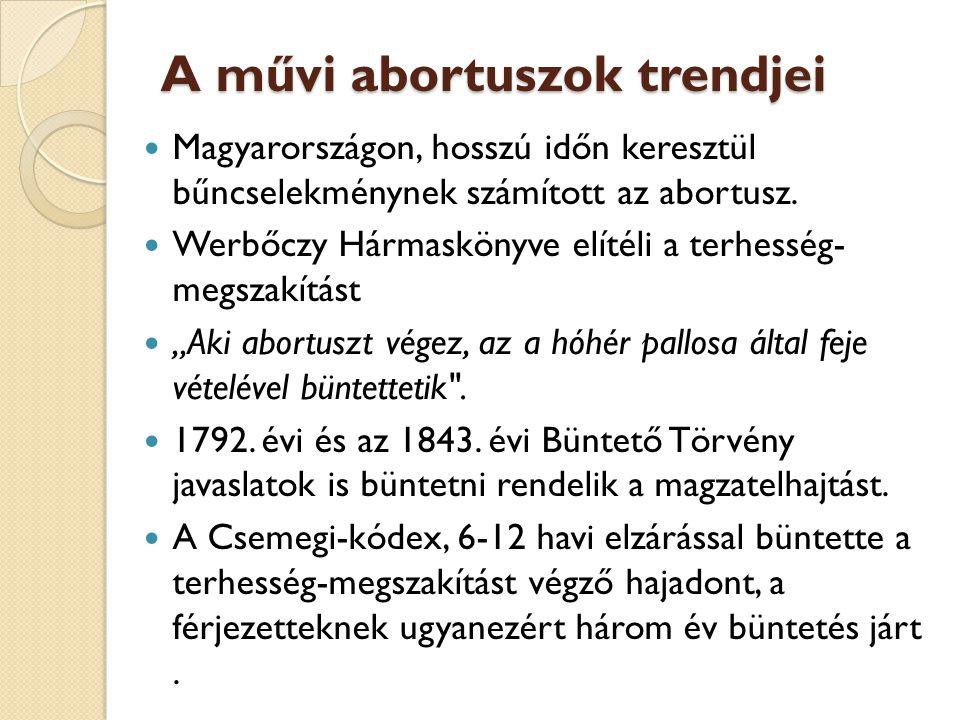 A művi abortuszok trendjei  Magyarországon, hosszú időn keresztül bűncselekménynek számított az abortusz.  Werbőczy Hármaskönyve elítéli a terhesség