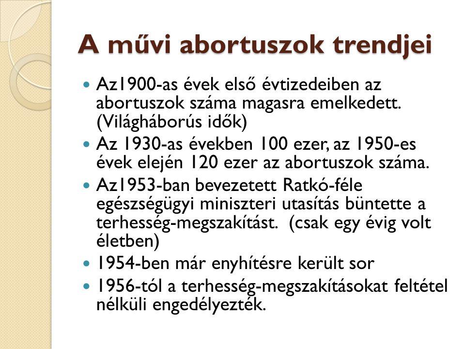A művi abortuszok trendjei  Az1900-as évek első évtizedeiben az abortuszok száma magasra emelkedett. (Világháborús idők)  Az 1930-as években 100 eze