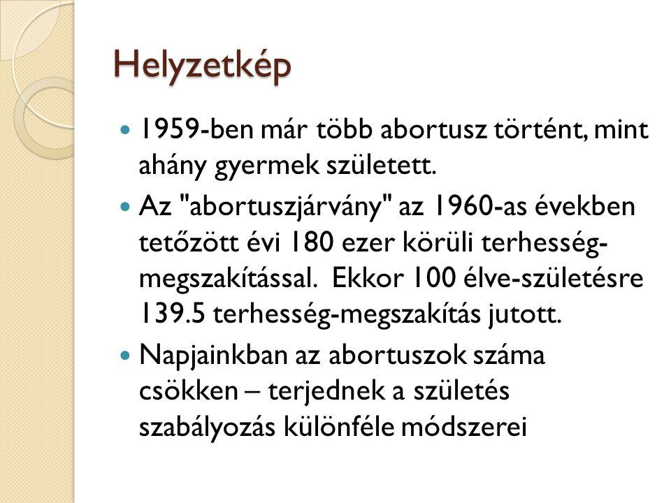Helyzetkép  1959-ben már több abortusz történt, mint ahány gyermek született.  Az