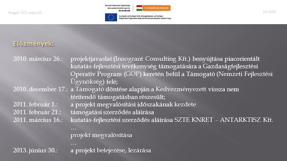 . oldal 16 Szeged, 2011. május 10. Innogrant Consulting Kft GOPNemzeti Fejlesztési Ügynökség 2010. március 26.:projektjavaslat (Innogrant Consulting K