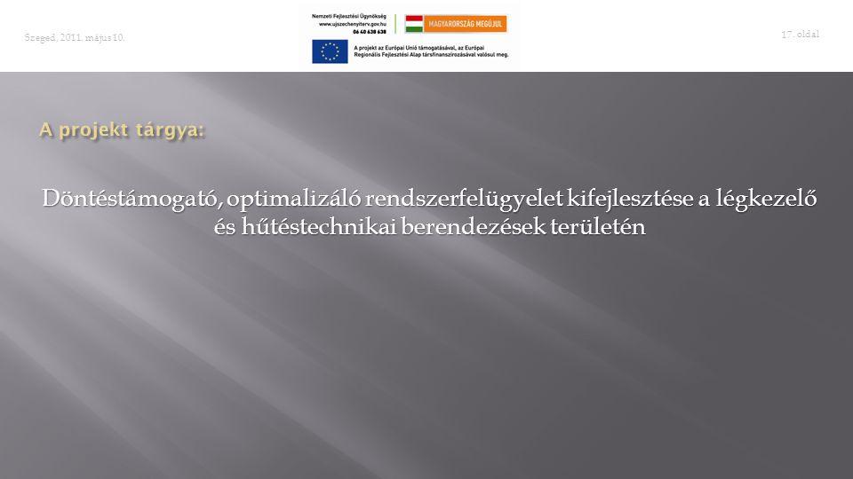. oldal 17 Szeged, 2011. május 10. Döntéstámogató, optimalizáló rendszerfelügyelet kifejlesztése a légkezelő és hűtéstechnikai berendezések területén